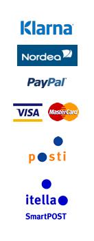 Klarna, Nordea, PayPal, itella smartpost, posti logo